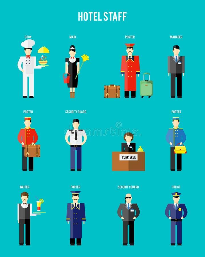 Personnel d'hôtel de vecteur illustration de vecteur
