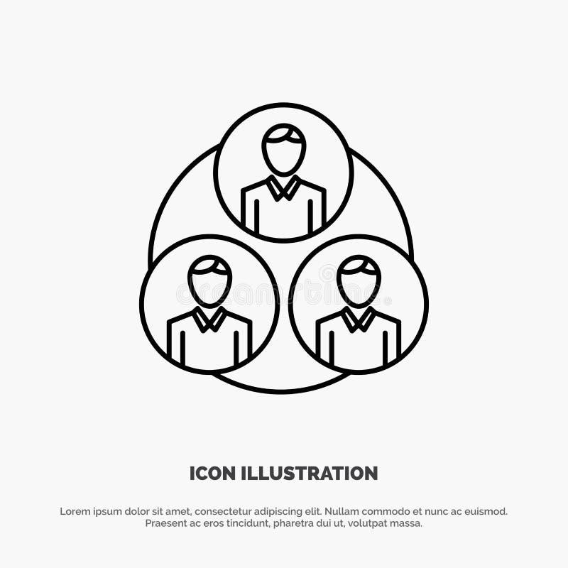 Personnel, Gang, Clone, Vecteur d'icônes Circle Line illustration de vecteur
