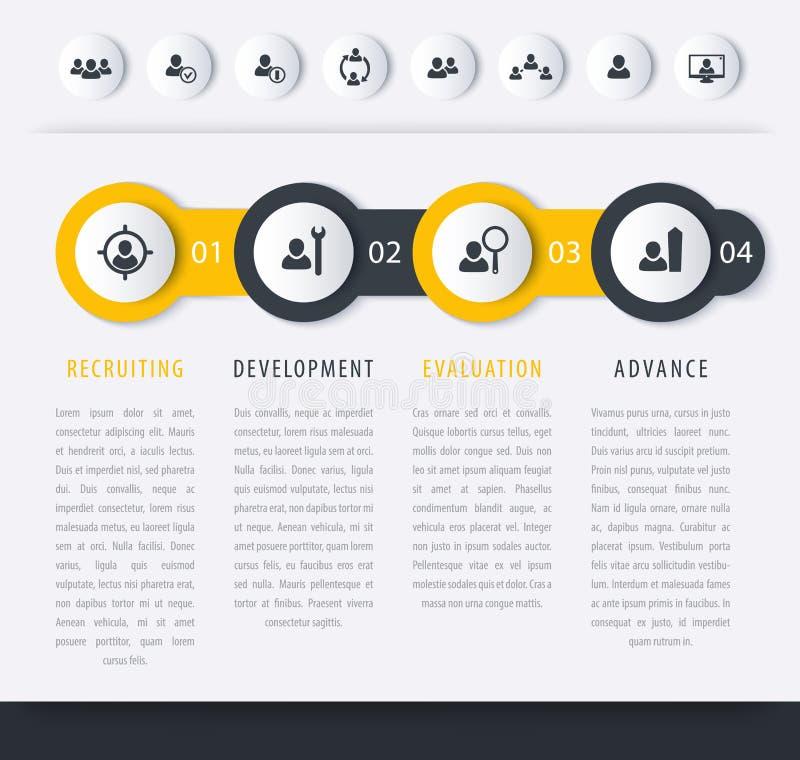 Personnel, heure, calibre de chronologie de perfectionnement du personnel illustration de vecteur