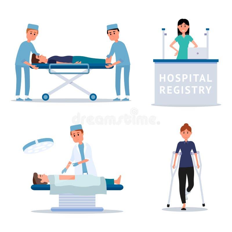 Personnel hospitalier et ensemble plat d'illustrations de patients illustration libre de droits