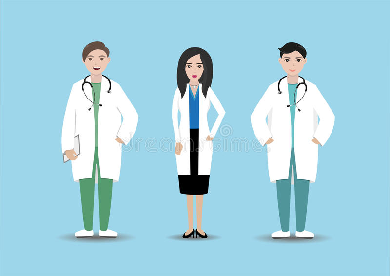 Personnel médical dans l'hôpital Médecins d'isolement avec le dossier et le stéthoscope sur le fond bleu Personnel de clinique images libres de droits