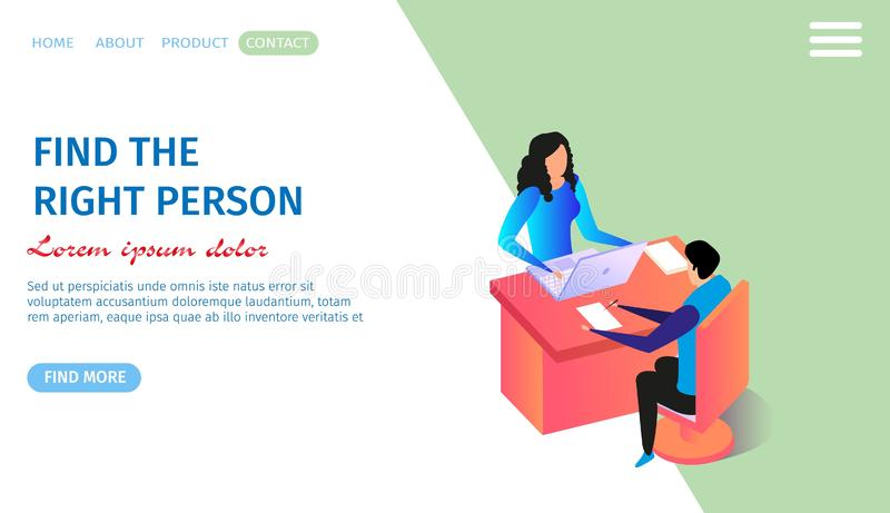 Personnel Reasearch Horizontal Banner, Copy Space. Find the Right Person Horizontal Banner with Copy Space. Young Man Sitting at Table and Writing. Woman vector illustration