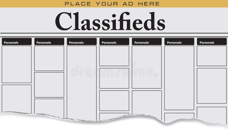 Personnels de classifieds de journal illustration stock