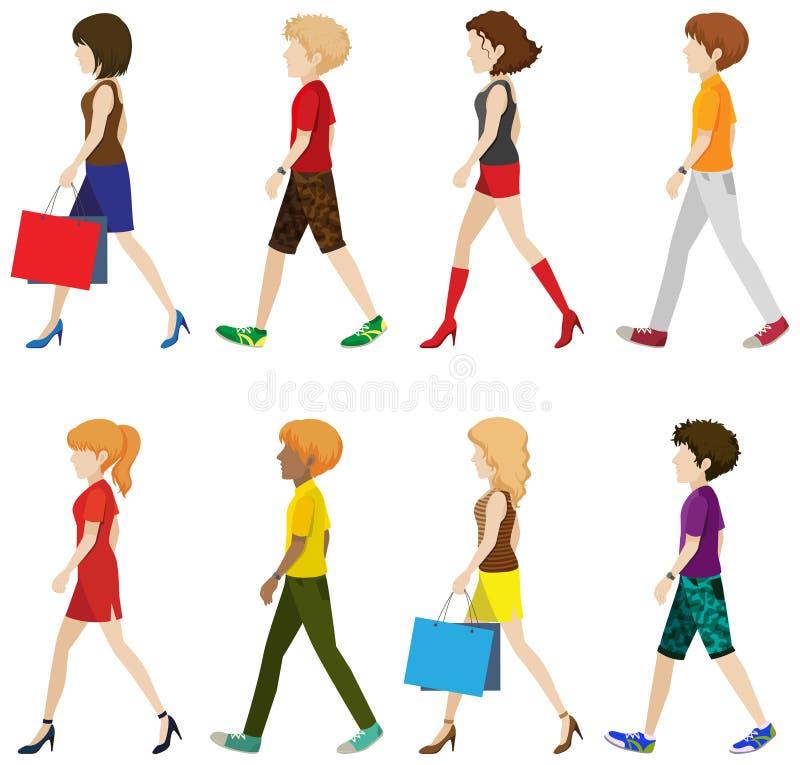 Personnes à la mode marchant sans visages illustration de vecteur