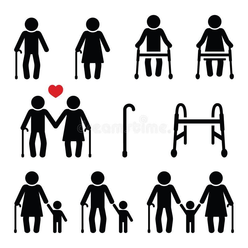 Personnes âgées, aînés avec le bâton de marche ou le cadre de Zimmer, icônes de grands-parents illustration de vecteur