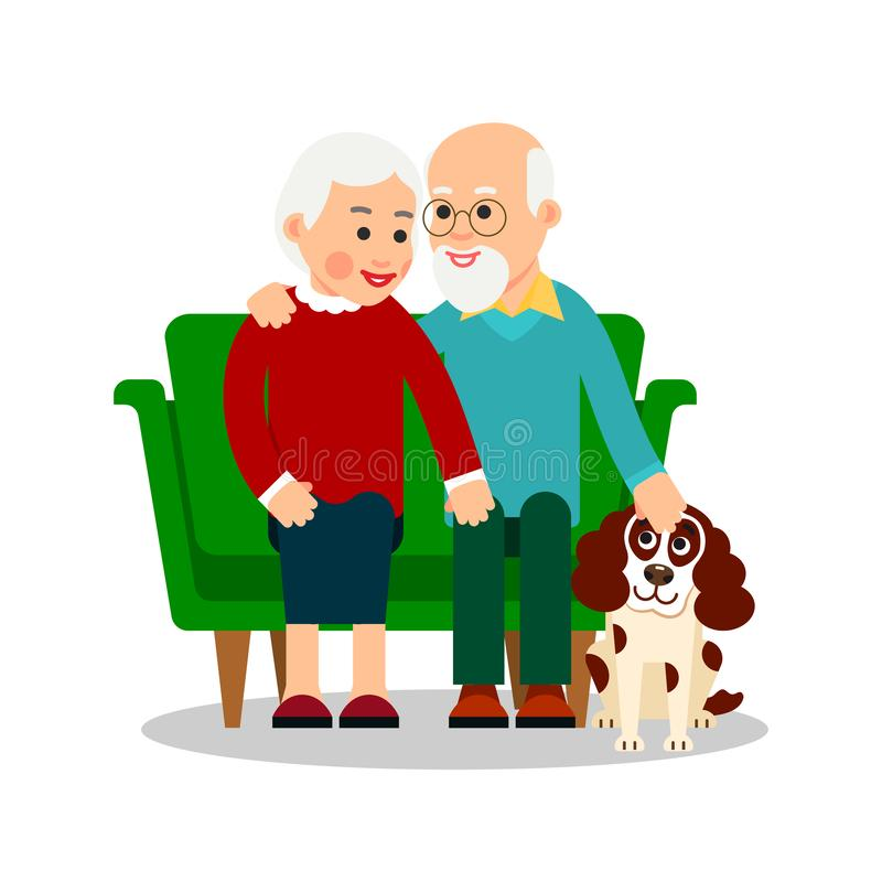 Personnes âgées avec le chien La grand-mère et le grand-père s'asseyent sur le sofa à côté du chiot Ajouter pluss âgé à l'animal  illustration stock