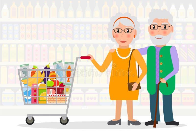 Personnes âgées faisant des emplettes à l'épicerie illustration stock