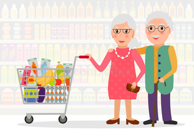 Personnes âgées faisant des emplettes à l'épicerie illustration de vecteur