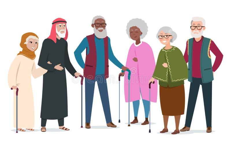 Personnes âgées heureuses internationales Les Afro-américains, les musulmans et les Caucasiens pluss âgé dirigent l'illustration illustration stock