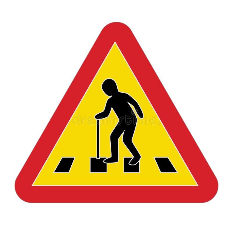 Personnes âgées piétonnières d'avertissement de poteau de signalisation illustration de vecteur