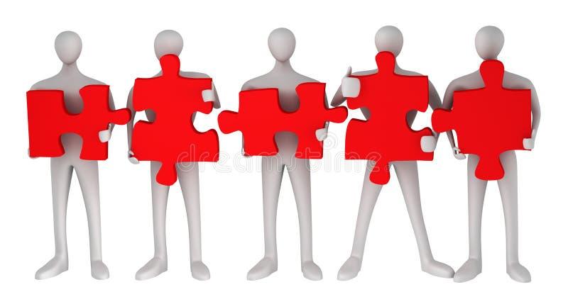 personnes 3d avec des puzzles illustration libre de droits