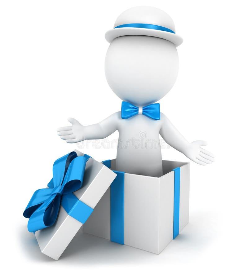 personnes 3d blanches à l'intérieur d'un cadeau illustration de vecteur