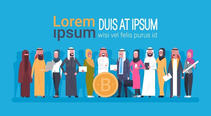 Personnes Arabes tenant bannière de calibre d'exploitation de Digital Cryptocurrency de concept d'argent de Web de devise de pièc illustration stock