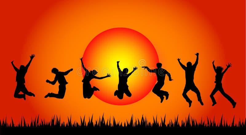 Personnes branchantes dans le coucher du soleil illustration libre de droits