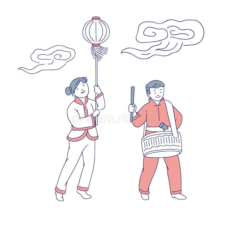 Personnes chinoises de nouvelle année de carnaval dans la fille traditionnelle de costume avec la lampe-torche sur le batteur de  illustration de vecteur