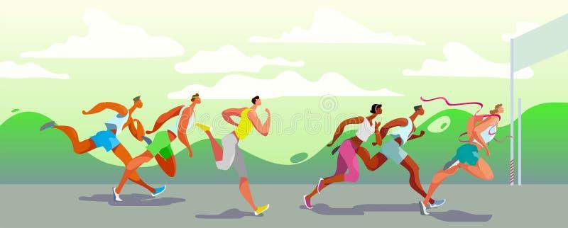 Personnes courantes de Dinamic gagnant Compétition sportive sur l'air Course de marathon Vecteur EPS10 illustration stock