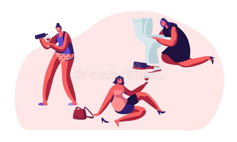 Personnes d'alcoolisme Personnages féminins pompette ivres ayant des dépendances d'habitudes et la toxicomanie pernicieuses, femm illustration stock