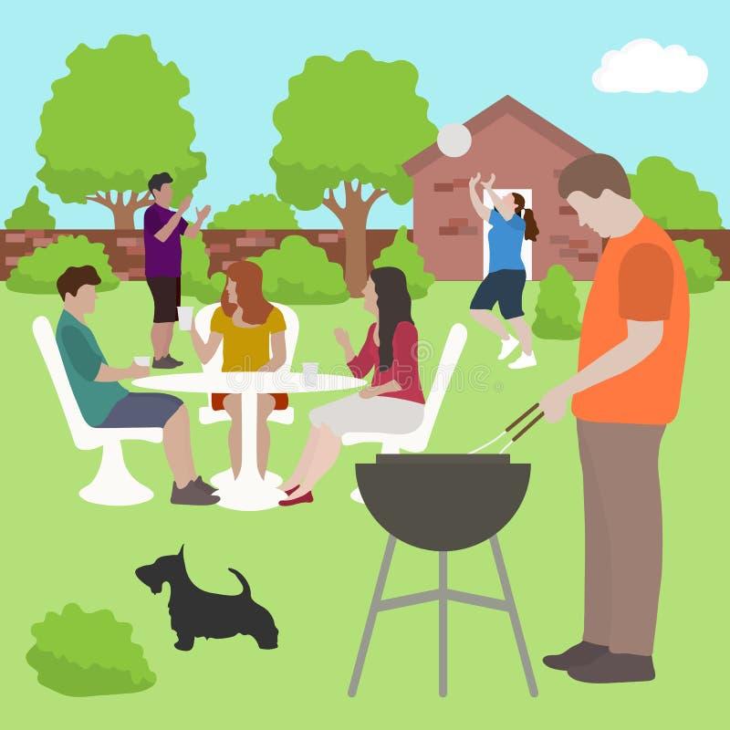 Personnes d'amis de famille sur le vecteur d'extérieur de partie de BBQ illustration de vecteur
