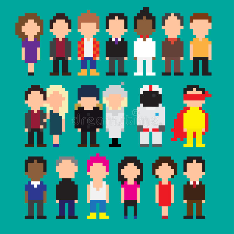 Personnes d'art de pixel illustration stock