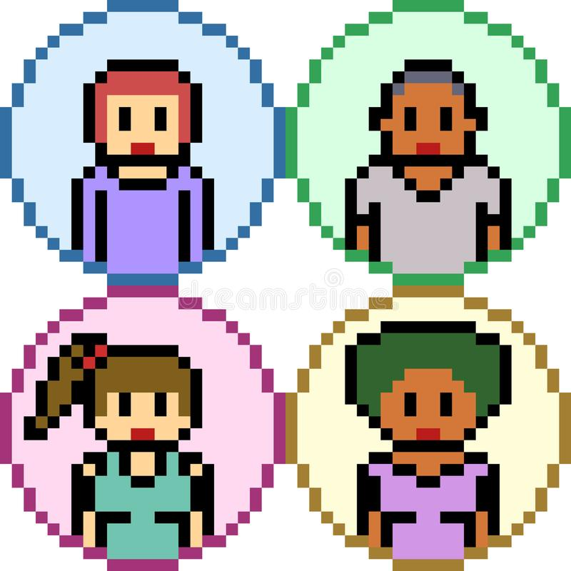 Personnes d'art de pixel de vecteur illustration stock