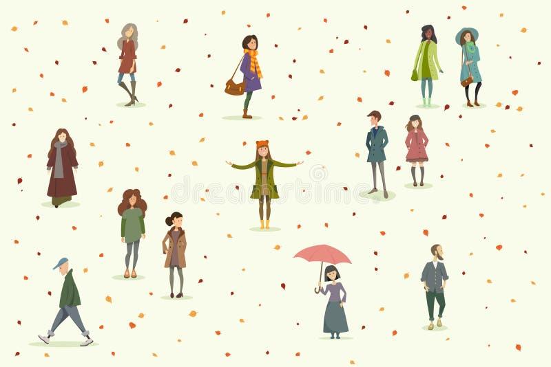 Personnes d'automne positionnement illustration stock