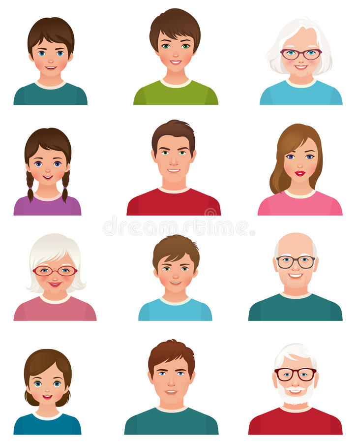 Personnes d'avatars de différents âges illustration libre de droits