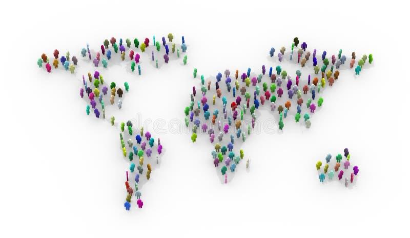 personnes 3d colorées se tenant sur la carte du monde illustration stock