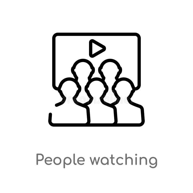 personnes d'ensemble observant une icône de vecteur de film ligne simple noire d'isolement illustration d'?l?ment de concept de c illustration de vecteur