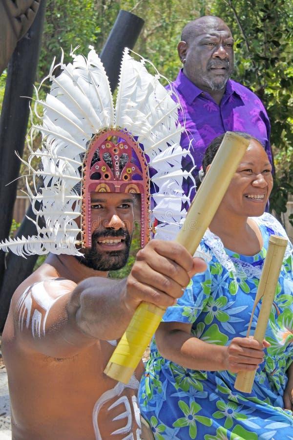 Personnes d'insulaire de détroit de Torres en îles Australie de détroit de Torres photographie stock libre de droits