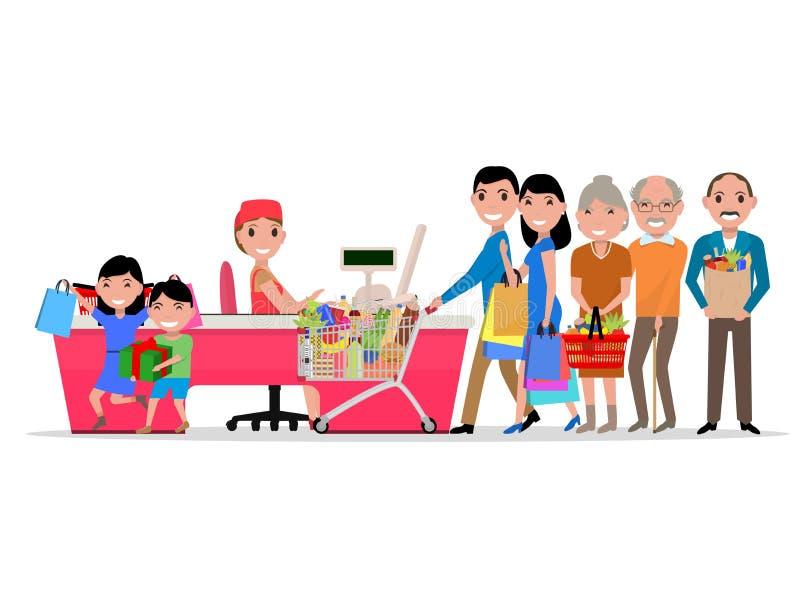 Personnes de bande dessinée de vecteur faisant le supermarché d'achats illustration libre de droits
