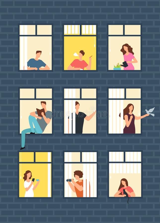 Personnes de bande dessinée de voisins dans des fenêtres de maison de rapport Concept de vecteur de voisinage illustration libre de droits