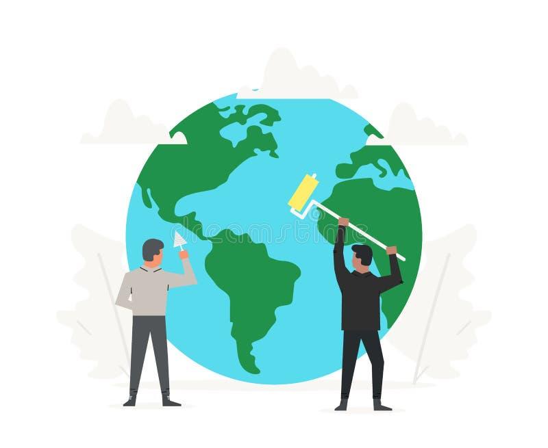 Personnes de bureau aidées à nettoyer et construire la planète verte Jour d'environnement du monde Écologie et jour de santé de l illustration libre de droits