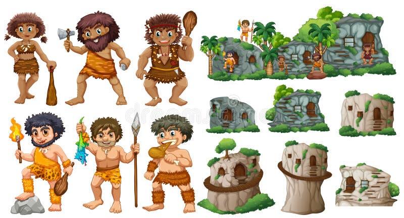 Personnes de caverne et différents styles des maisons illustration stock
