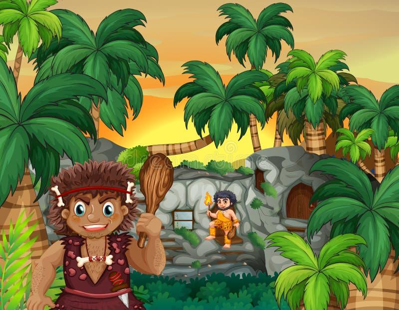 Personnes de caverne vivant dans la forêt illustration stock