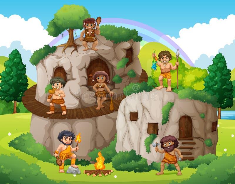 Personnes de caverne vivant dans la maison en pierre illustration libre de droits