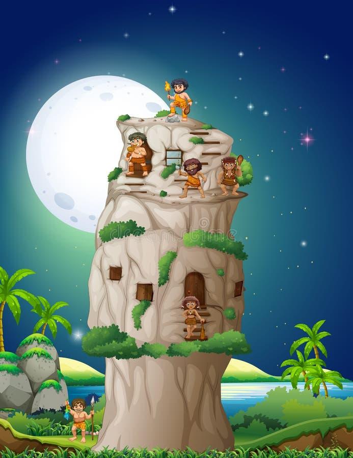 Personnes de caverne vivant dans la maison en pierre illustration stock
