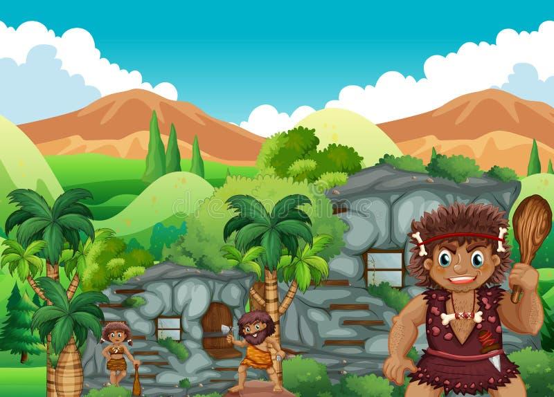 Personnes de caverne vivant ensemble dans le stonehouse illustration libre de droits