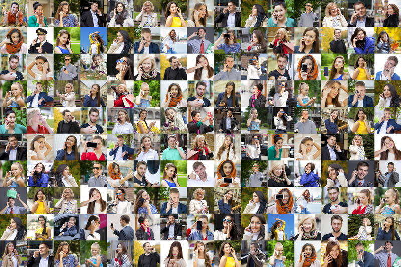 Personnes de collage appelant par le téléphone photo libre de droits