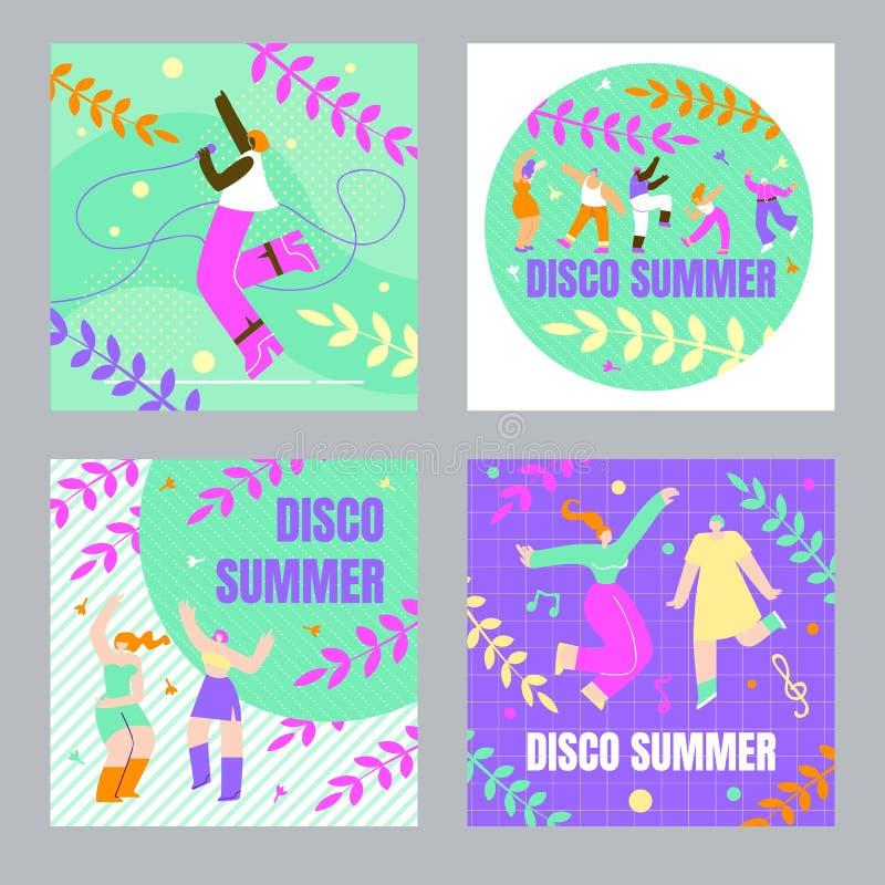 Personnes de danse réglées, bande dessinée d'été de disco d'affiche illustration de vecteur