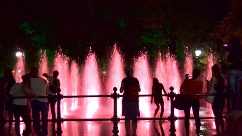 Personnes de fontaines de nuit photo libre de droits