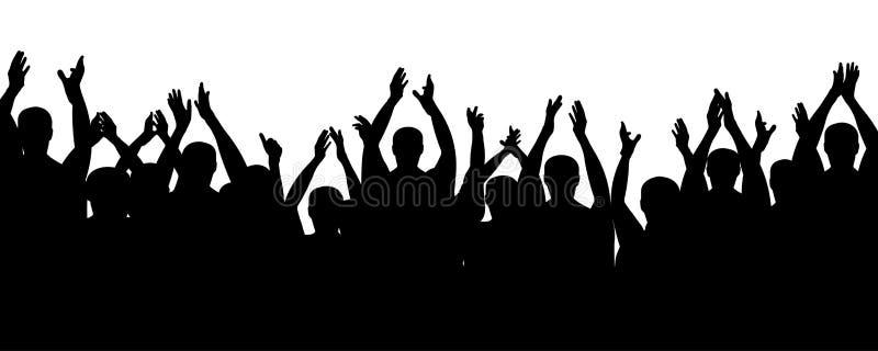 Personnes de foule encourageant, mains d'acclamation  Assistance d'applaudissements illustration de vecteur