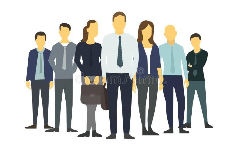 Personnes de groupe d'affaires de société des commis de bureau E Formation sur la bourse des valeurs  illustration de vecteur