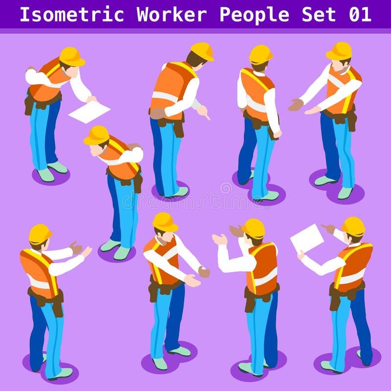 Personnes de la construction 01 isométriques illustration stock