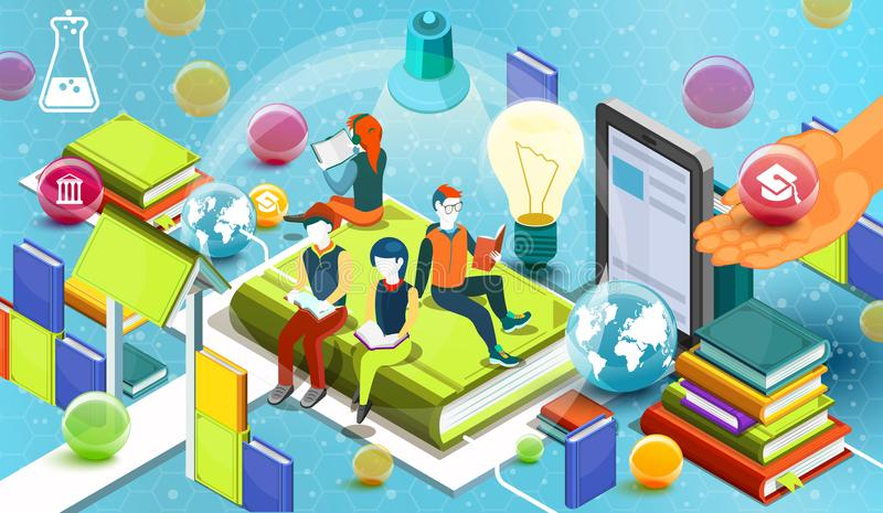 Personnes de lecture Concept éducatif Bibliothèque en ligne Conception plate isométrique d'éducation en ligne sur le fond bleu Ve illustration libre de droits