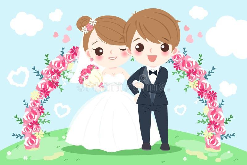 Personnes de mariage de bande dessinée illustration stock