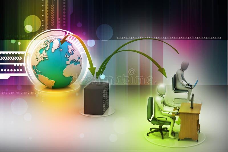 Personnes de mise en réseau avec le globe illustration libre de droits