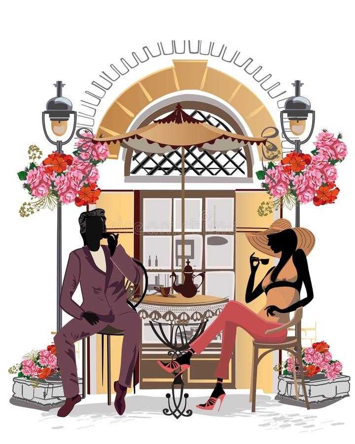 Personnes de mode dans le café de rue Café de rue avec des fleurs dans la vieille ville illustration de vecteur