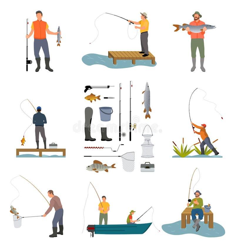 Personnes de pêche et illustration de vecteur réglée par articles illustration stock