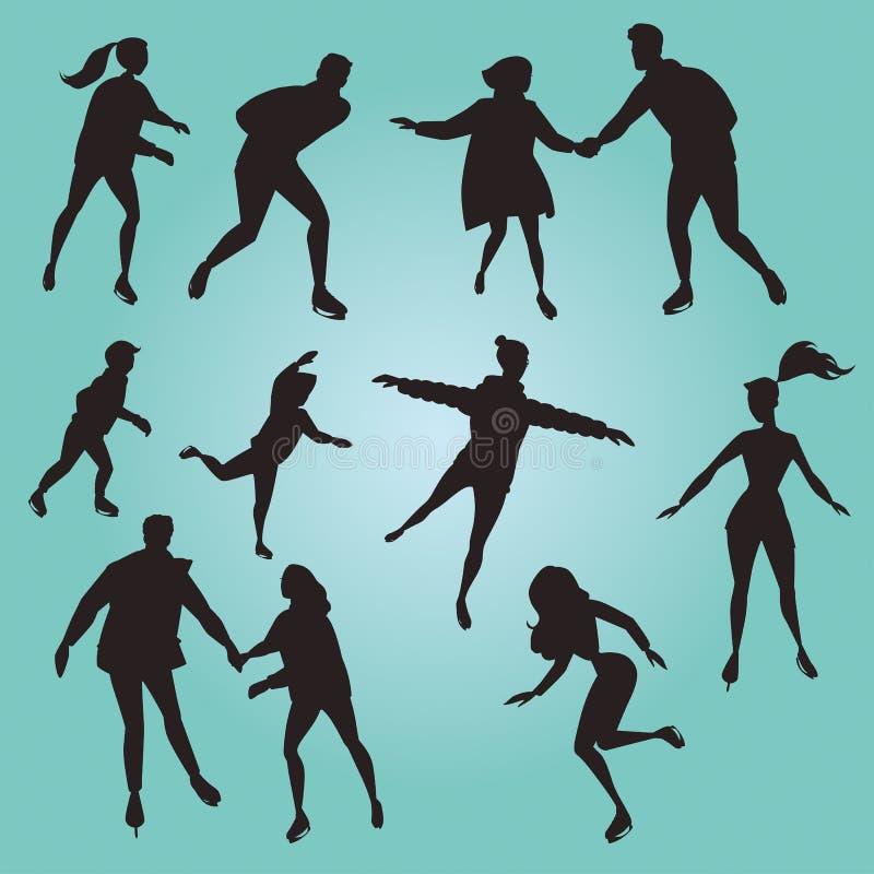 Personnes de patinage de glace silhouettes illustration stock