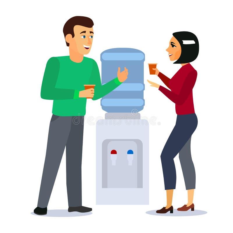 Personnes de personnages de dessin animé autour de concept de bavardage de refroidisseur d'eau Vecteur illustration de vecteur